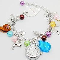 SODIAL(R) Braccialetto delfion strass orologio da polso a quarzo da donna - Giappone Strass