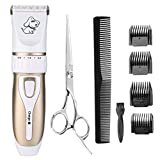 Rantizon Pet Grooming Clipper Kits, Low Noise Rechargeable Pet Hair Shaver Hair Trimmer Dogs & Cats Cordless Electric Clippers Set Professional Pet Fur Grooming at Home Come With Scissors + Comb And Accessories