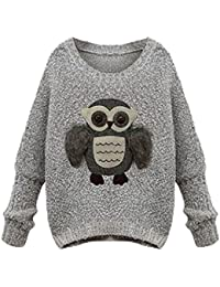 EOZY Femme Chandail Sweat-Shirt Pull Style Milan Impression Hibou Unicolore