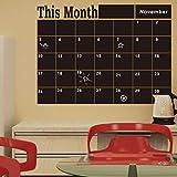 Manadlian Wandsticker ❤️ 58x43cm Wandaufkleber Wandtattoo Wandsticker, Monats Plan Kalender Tafel Tafel Vinylwand Aufkleber (Schwarz)
