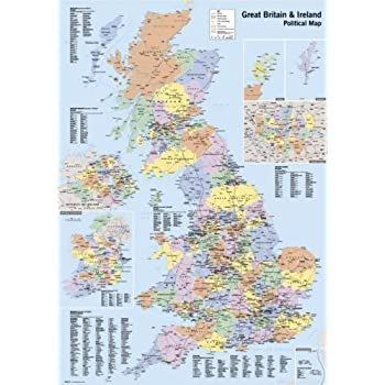 UK Counties Map Educational Poster 40x60cm: Amazon.co.uk