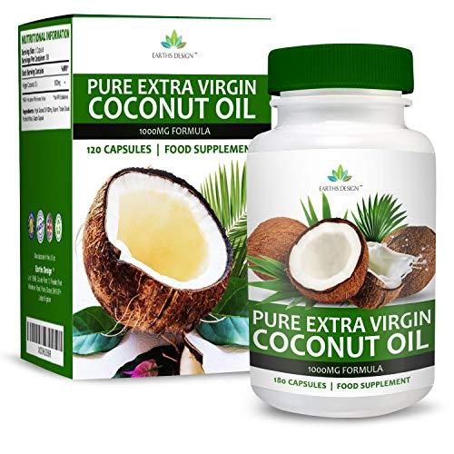 Aceite de Coco - 1000mg - Virgen y Puro con Ácidos Grasos Naturales TCM - Coconut Oil - Para Hombres y Mujeres - 180 Cápsulas (Suministro Para 3 Meses) de Earths Design