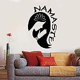 yaoxingfu Yoga Girl Namaste Wall Art Sticker Wallpaper Home Decorate Living Room Lotus Flower Meditation Room Wall Decal56x82cm