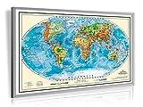 Pinnwand Weltkarte Deluxe 90 x 60 cm, im Alurahmen, inklusive 20 Stück XXL-Pack gemischte Markierungsfahnen