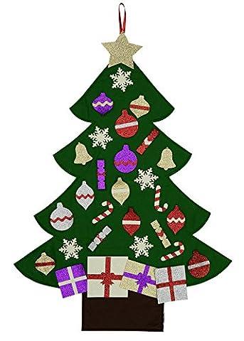 Mushy Moments Filz Weihnachtsbaum. Glitter Edition Leben Größe, Wand oder Tür hängen, 30 abnehmbare Glitzer Weihnachtsschmuck