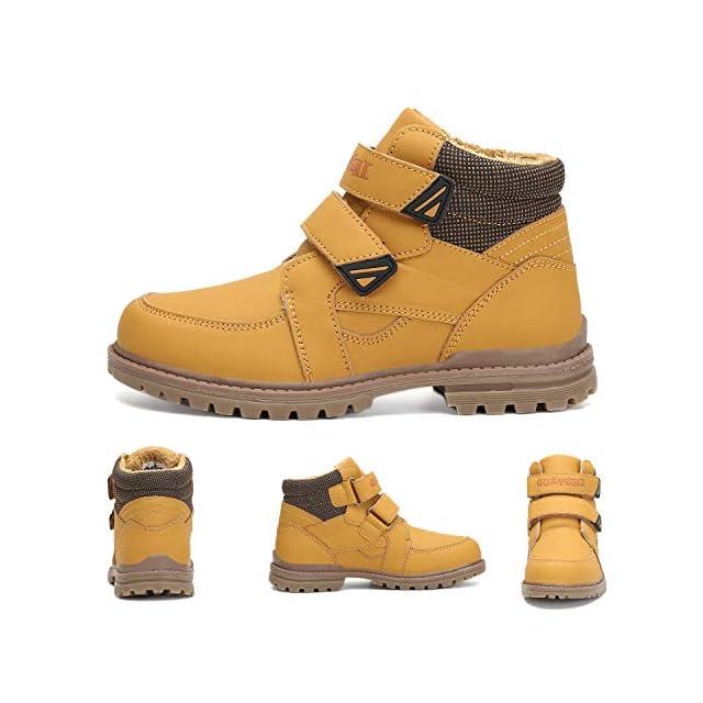 add764198221d ... Putu Bottines Bottes d hiver Confortables Doublure Chaude Velcro  Chaussures Casual Baskets Garçons Filles Enfants