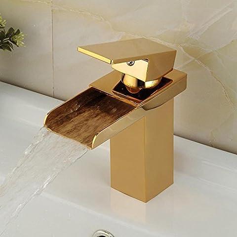 SSBY Placcatura in oro rame tipo cascata semplice moda miscela acqua calda e acqua fredda Lavandino/rubinetto di lavello