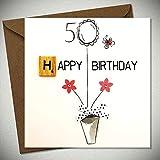 Scrabbel Karten 50 Geburtstag Grußkarte Holz Spielstein Birthday 15x15cm