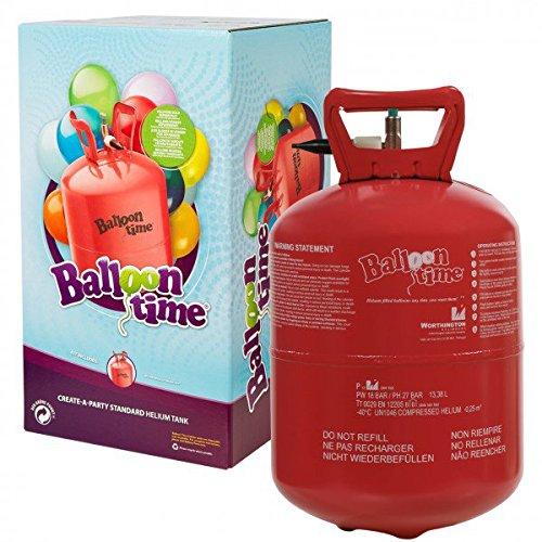 Preisvergleich Produktbild Heliumflasche mit Helium / Ballongas / XXL 250 Liter Einweg-Heliumbehälter für 30 Luftballons ==> für leichtes befüllen von Ballons
