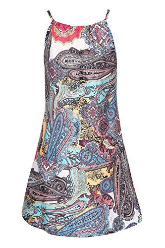 Frauen Ist Sommer Ärmellos Schulterfreien Boho Floralen Mini - Strand - Kleid Floral