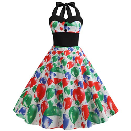 SCHOLIEBEN Schöne Kleider Damen Kleid Sommerkleid Sommer Vintage Petticoat Elegant 50Er 60Er Jahre Rockabilly Sexy A-Linien Tunika Knielang Abschlussball Abendkleid Partykleid -