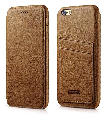Luxus Tasche für Apple iPhone 6S Plus und 6 Plus (5.5 Zoll) / Case Außenseite aus echtem Leder / Hüllen-Innenseite aus Textil / Schutz-Hülle seitlich aufklappbar / ultra-slim / Cover mit Kartenfächern Hellbraun