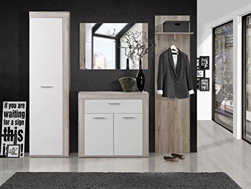 Wohnwand 62679 Anbauwand 5 Teilig Mit Beleuchtung Sandeiche Weiß 300cm