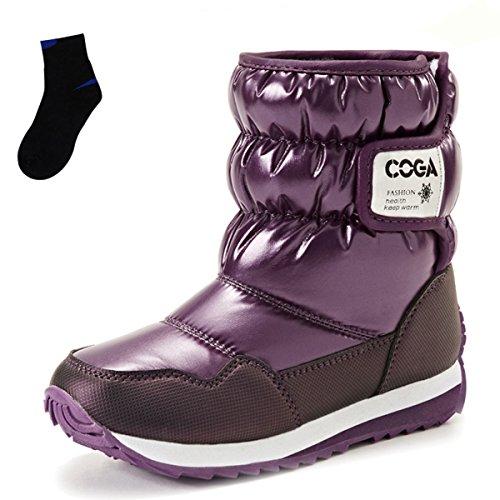 Meurry Niños Niñas Unisex Botas de Nieve Botas de Invierno Cálido Zapatos de Invierno Impermeables Botas Planas de Velcro Zapatos Al Aire Libre Púrpura,27EU