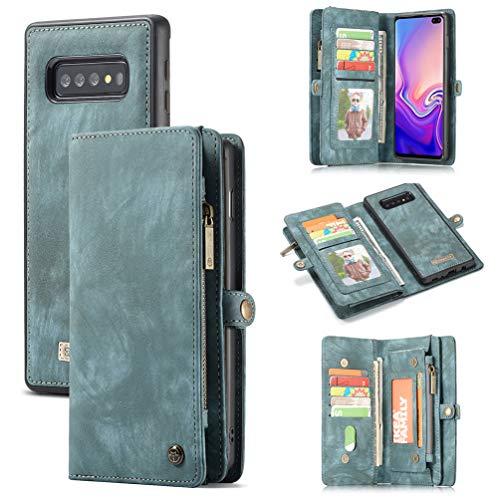 ToneSun Hülle Case für Samsung Galaxy S10, Leder Filp Wallet Handyhülle Flipcase: Geschäft Multifunktionale Tasche Cover Brieftasche Schutzhülle in Hellblau