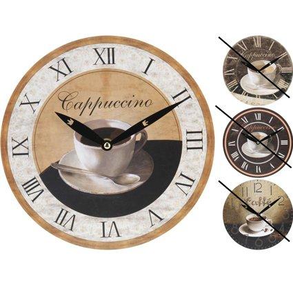 Wanduhr Küchenuhr Dekouhr Kaffeemotiv'Cappuccino', rund, ca. 23 cm, 1 Stück