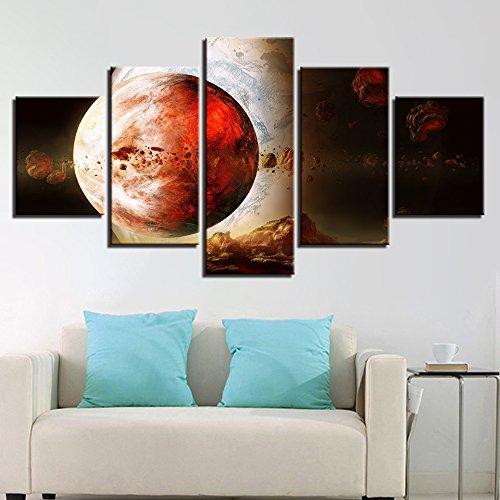 Design PT Wohnkultur Wohnzimmer Wandkunst HD Prints 5 Stück Erde Planet Abstraktion Gemälde Rahmen Modulare Bilder Leinwand Kunstwerke, 40x60 40x80 40x100cm, Rahmen