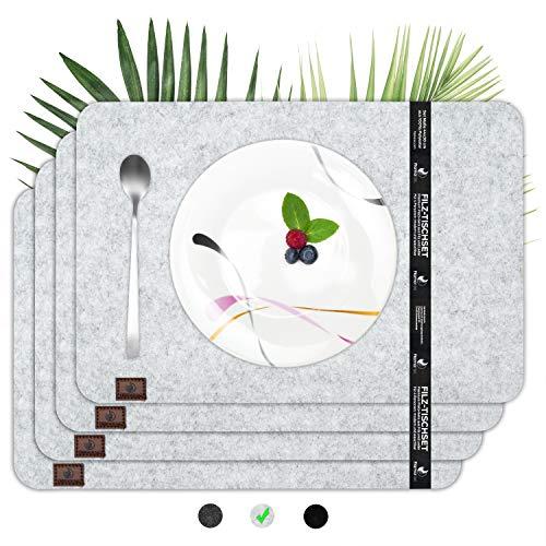 flamaroc® Platzset Filz Tischset grau - Premium 4 Stück Set aus Filz, Moderne Platzdeckchen aus Filz mit Leder, waschbar, abwaschbar und hitzebeständig - Hellgrau, eckig (44x30cm)
