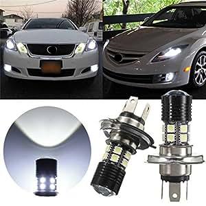 AUDEW 2 X H4 12W CREE LED + 12pcs 5050 LED Phare Voiture Anti-Brouillard Ampoule Auto Headlight DRL Véhicule Lampe DC 12-30V(Blanc Pur 6000-6500K)