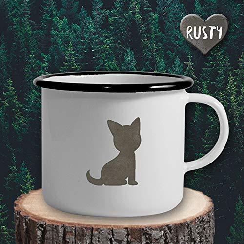 The Manufacture Katze Haustier Tier Emaille Becher Tasse als Geschenk, weiß Outdoor Ausrüstung - Ausrüstung Emaille