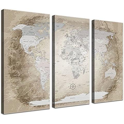LanaKK® - mapamundi beige con corcho - versión Inglés, reproducción artística sobre lienzo premium en bastidor, tablón de notas para los trojoamundos, tamaño con bastidor tensado 120 x 80 cm, en tres