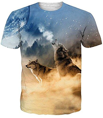 153d5b0043d793 Idgretim Frauen Männer 3D Gedruckt Zwei Wolf T-Shirts Oansatz T-stücke