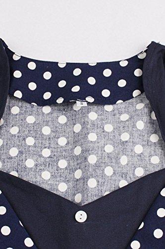 Damen kleider 50er jahre stil Vintage Polka Dots Knielang Navyblau 4XL - 3