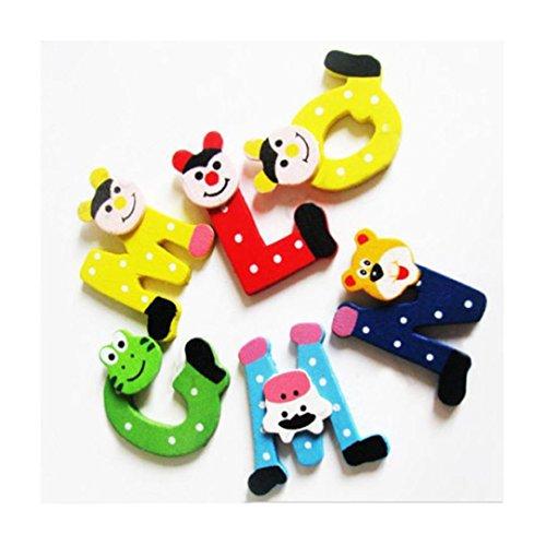 Bildung Spielzeug,Hirolan 26 Stück Hölzern Karikatur Alphabete Magnete Kind Lehrreich Spielzeug 26 Buchstaben Entwicklungsfähig Baby Spielzeuge (4.5cm×4cm×0.4cm) (Messing-buchstaben-halter)