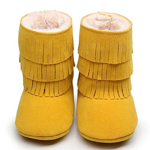 OverDose Baby-Kind Jungen Mädchen Winter Warmhalte Double deck Quasten weichen Schnee lädt weiche Krippe Baumwolle Schuhe Kleinkind Botts 0 ~ 6 Monate 6 ~ 12 Monate 12 ~ 18 Monate 18 ~ 24 Monate Gelb