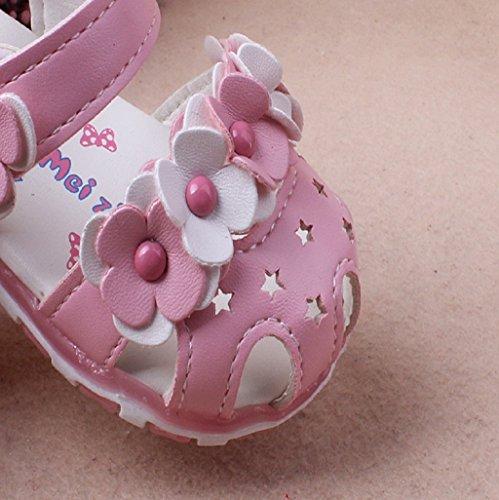BabySchuhe Auxma Baby Mädchen Blume Sandalen Lichter weichen Sohlen Prinzessin Baby Schuhe Rosa