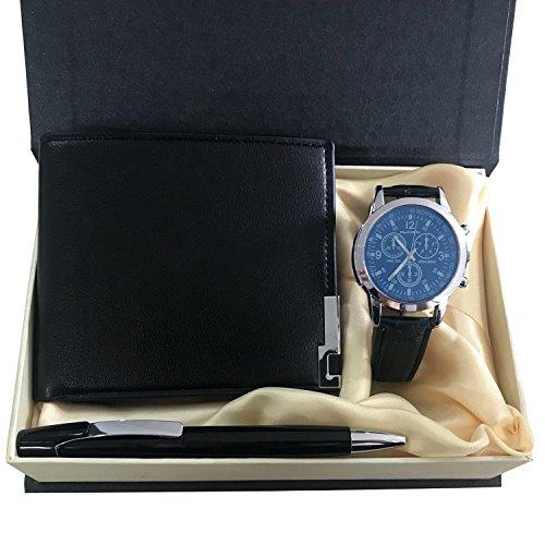 KUXIEN Herren Geschenkset mit Armbanduhr, Geschenkbox mit Herren-Armbanduhr, Geldbörse, Unterschrift Stift fürValentinstag,Weihnachten,Geburtstag Geschenk,Jahrestag Geschenk