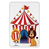 TRAzz Bathroom Bath rug Kitchen Floor Mat Carpet,Circus Decor,Lion And a Fire Ring in Front of The Circus Tent Lightbulbs Flame Adventure,Flannel Microfiber Non-Slip Soft Absorbent