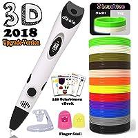 3D Stift Set für Kinder mit PLA Filament 12 Farben -【Neueste Version 2018】3D Stifte mit PLA Farben 120 Fuß und 250 Schablonen eBook, Dikale 07A 3D Pen als kreatives Geschenk für Erwachsene, Bastler zu kritzeleien, basteln, malen und 3D drücken