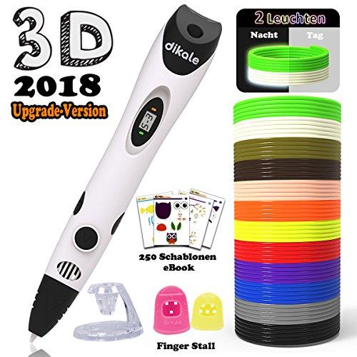 3D Stift Set für Kinder mit PLA Filament 12 Farben -【Neueste Version 2018】3D Stifte mit PLA Farben 120 Fuß und 250 Schablonen eBook, Dikale 07A 3D Pen als kreatives Geschenk für Erwachsene, Bastler zu kritzeleien, basteln, malen und 3D drücken - 2