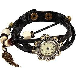 Bohemian Style [Waterproof] Retro Handmade Leather [Angel Wing Pendant Wrist Watch] Fashionable, Luxury & Stylish Weave Around [Wrap Watch Bracelet] For Women Ladies Girls. [Scratch Resistant]- Black