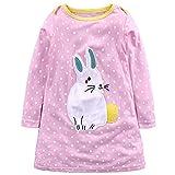 Baby Mädchen Prinzessin Kleid Cartoon Tiere Lange Ärmel/Kurzarm T-Shirt Jerseykleid mit Streifen Crewneck Kleid (4 Jahre, Rosa-Kaninchen)