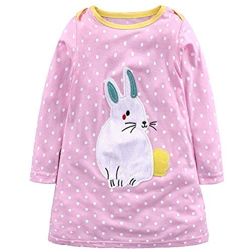Baby Mädchen Prinzessin Kleid Cartoon Tiere Lange Ärmel/Kurzarm T-Shirt Jerseykleid mit Streifen Crewneck Kleid (7 Jahre, Rosa-Kaninchen)