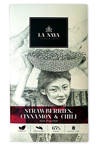 La Naya Cioccolato fondente artigianale, esclusivo ed organico con fragole, cannella e pepe di Cayenna - Singole Organico