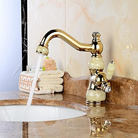 YanCui@ Hogar y cocina Baño Grifos de lavabo Lavabo europeo oro cobre natural jade antiguo dorado caliente y frío mármol lavado ,