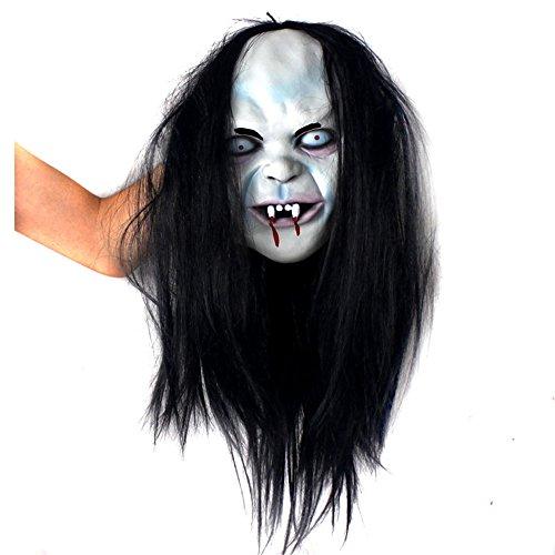 Halloween horror capelli lunghi con maschera intera latex