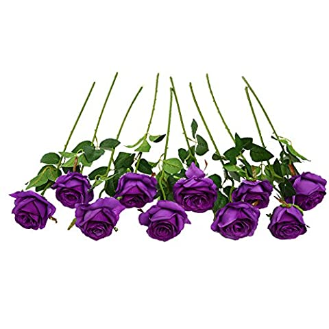 JUSTOYOU Flowers Artifiical Bouquets Arrangements Fake Rose Flower for Wedding Decoration Pack of 10(Purple)