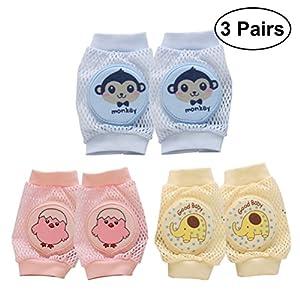 Toyvian Baby Knieschützer Krabbeln Schutz – 3 Paar Infant Walking Knieschoner, Anti-Rutsch-, Breathable, Ellenbogen Beine Protector für Unisex Kleinkinder
