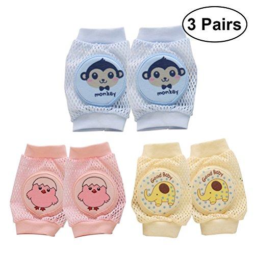 yeahibaby 3Paar Baby kriechen Knie Pads Anti-Rutsch Knie Pads Unisex Baby Kleinkind Kniestützen kriechen Sicherheit Displayschutzfolie (Pink Huhn blau Affe und Gelb Elefant)