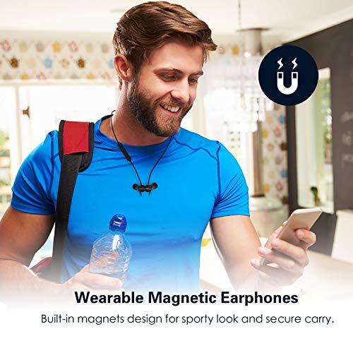 Auricolari Bluetooth Wireless, E2 Cuffie IPX6 In-Ear Magnetiche Stereo, Auricolare Ultraleggere con CVC6.0 Noise Cancelling Microfono, Durata Riproduzione 8 Ore, Ideali per Sport e Allenamenti (Nero)