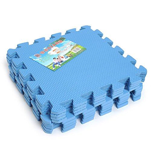 Kicode 9 pcs puzzle esercizio stuoia di kid con l'alta qualit schiuma eva piastrelle ad incastro (blu)