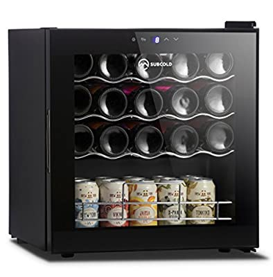 Subcold Super19 LED – Dual Use Wine Cooler   Drinks Fridge   19 Bottle Capacity   Smart Digital Touch Display   50L Black Glass [A Class] Low Energy by Subcold