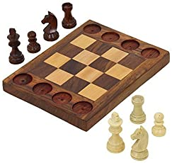 Shalinindia Handmade Wooden Beginners Chess Set Cross Between Chess and Tic Tac Toe Teaches Basic Chess Moves