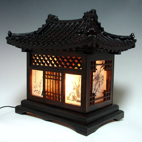 Wood Lamp Shade Handmade Traditional Korean House Design Art Lantern Brown Asian Oriental Decorative Bedside Bedroom Accent Unusual Home Decor Table Light