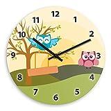 Wanduhr mit Motiv mit Eulen-Landschaft | Kinderzimmer-Uhr | Kinder-Uhr