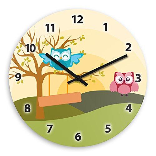 Wanduhr mit schönem Motiv mit Eulen-Landschaft | Kinderzimmer-Uhr | Kinder-Uhr